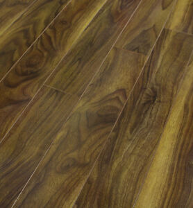 Pallet deals 12mm gloss laminate wood flooring walnut v for Sherlock laminate flooring