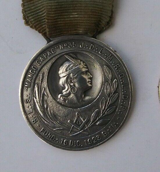 Peruvian Masonic Medal Order Lodge Manco Capac N°35 1923