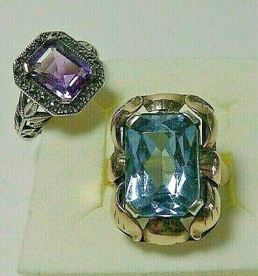 Sammlung Nachlass Schmuck 2 Silber Ringe mit Steinen Konvolut