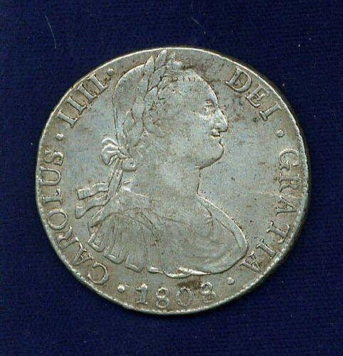BOLIVIA SPANISH COLONIAL CHARLES IIII 1808-PJ 8 REALES SILVER COIN, XF/XF+