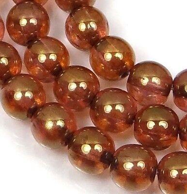 50 Czech Glass Round Beads -  Luster Rose / Gold Topaz 6mm