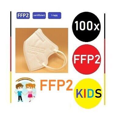 100x Stück - FFP2 Kinder Masken Atemschutz CE zertifiziert, kleine Größe Weiß