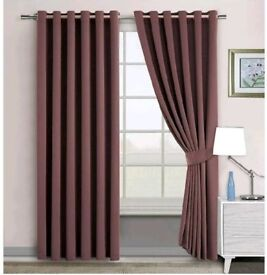 """Super Soft Quality-Thermal Insulated Eyelet Curtains 46"""" x 54"""" Energy Save Brown"""