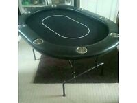 POKER TABLE WITH BRUSHED STEEL REMOVABLE CUP HOLDERS