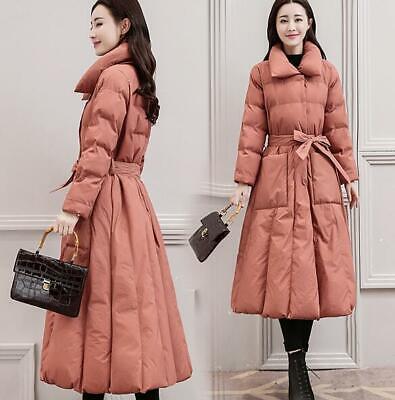 Women Long Down Cotton Coat A Line Slim Fit Outwear Parka Padded Winter Overcoat