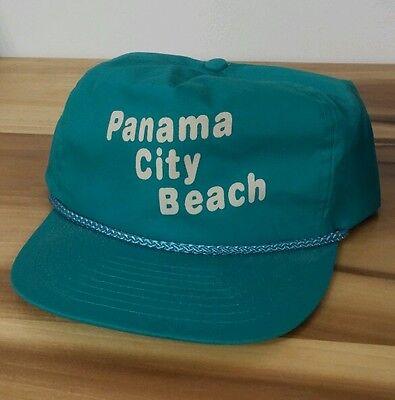 Vintage 80's Panama City Beach Florida Party Strapback Hat Cap Teal Surf MTV Era