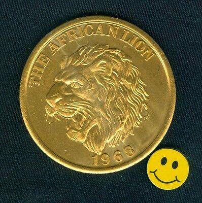 African Lion - Zulu - Gold Aluminum Thick Mardi Gras Doubloon Token Coin 1968