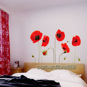 Red Poppy Flowers Removable Wall Art Decal Stickers Transparent