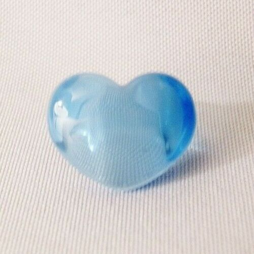 1960s Vintage Baby Blue Lucite Plastic Retro Heart Ring