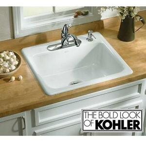 NEW KOHLER MAYFIELD KITCHEN SINK SELF RIMMING WHITE CAST IRON ENAMELED - SINKS BASIN BASINS BAR KITCHENS BARS 106071884