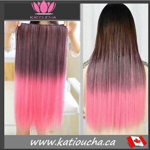 "Clip in hair extension,Straight hair,60 cm,24"",BROWN PINK OMBRE"