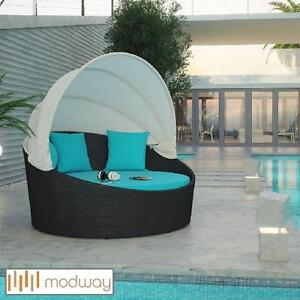 NEW* MODWAY SIESTA CANOPY DAYBED - 118781113 - TURQUOISE CUSHIONS RATTAN WICKER ESPRESSO OUTDOOR FURNITURE DECOR BEDS...