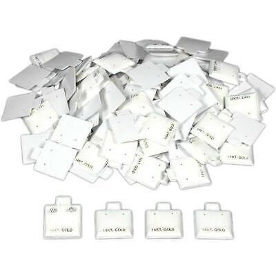 100 14k Gold White Earring Puff Cards Showcase Display