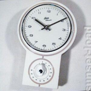 vintage kuchenuhr : ... K?chen Uhr Wei? Grau Alte Vintage 60ER 70ER Jahre K?chenuhr eBay