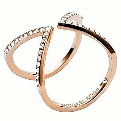 NWT Michael Kors ROSE GOLD Ring Glitz OPEN ARROW MOTIF Size8 MKJ3750 MKJ3750791