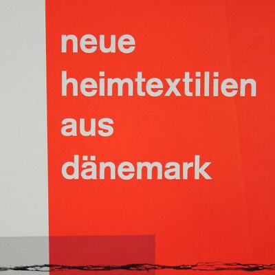 Neue Heimtextilien aus Dänemark Poster Plakat 1961 Ausstellung Nürnberg 60er alt