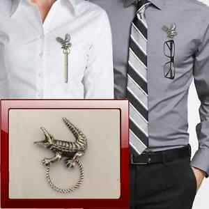 Crocodile R117 Pewter Pin Brooch Drop Hoop Holder For Glasses,Pen,Jewellery