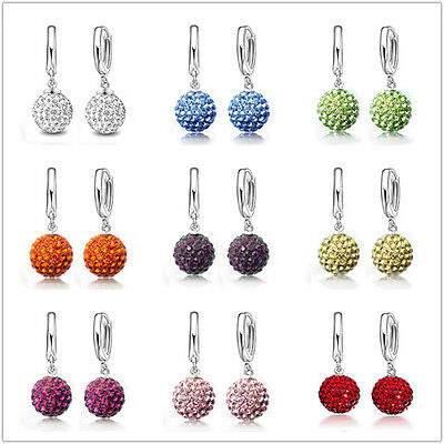 Austrian CZ Crystal Pave Disco Ball Hoop Leverback Huggie Earrings Woman - Pave Austrian Crystal