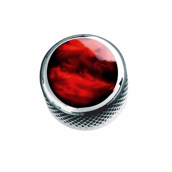 NEW Q-Parts Dome Knob - ACRYLIC RED PEARL ON CHROME - KCD-00