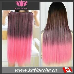 """Clip in hair extension,Straight hair,60 cm,24"""",BROWN PINK OMBRE"""