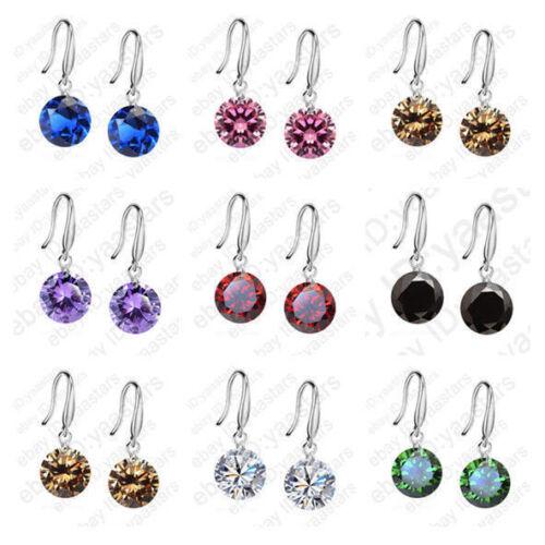 Silver Women Hook Dangle Earrings Cubic Zircon Crystal for W