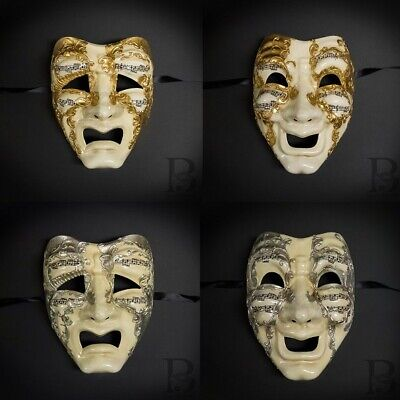 Comedy and Tragedy Masks Venetian Music Notes Masquerade Mask HIGH QUALITY - Comedy And Tragedy