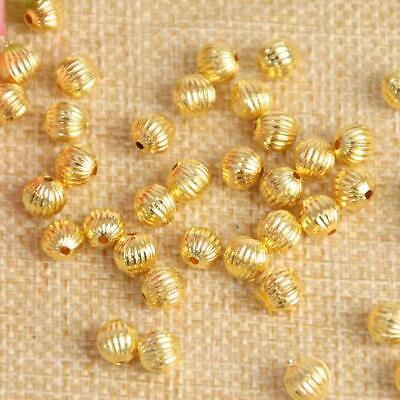 300PCS Gold Plated Acrylic Pumpkin Spacer Beads Crafts DIY Beading Jewelry 6MM (Pumpkin Crafts)