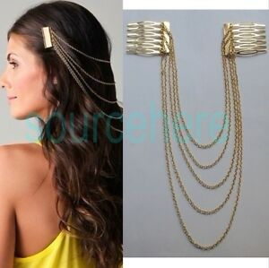 Chic-Metal-Hair-Cuff-Gold-Silver-Tone-Comb-Fringe-Chains-Hair-Band-Headbands