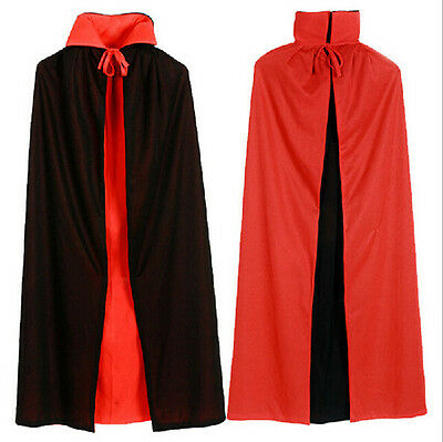 Gift New Halloween Black Red Vampire Cape Reversible Devil Cloak Fancy Costume - Red Vampire Cape