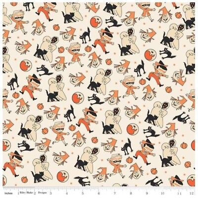 Halloween Fabric - Trick or Treat Witch Ghost Costumes Cream - Riley Blake YARD - Halloween Ghost Trick Or Treat