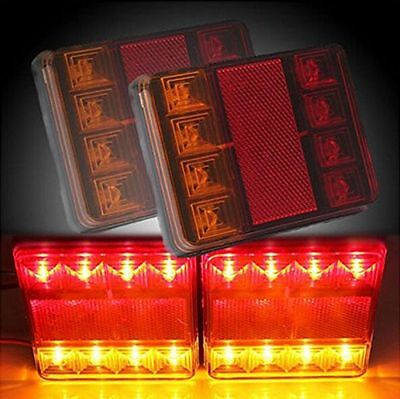 2x 8 LED 12V CARAVAN TRUCK TRAILER STOP REAR TAIL BRAKE LIGHTS INDICATOR LAMP
