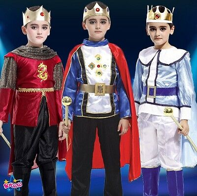 Boy Kids Children Prince King Cosplay Fancy Dress Costume Hallowee Birthday Gift