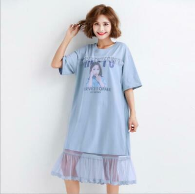 Womens New Fashion Printed Lace Joint Long T-Shirt Tunic Loose Casual Dress 8485 Jointed Cotton Women Dresses