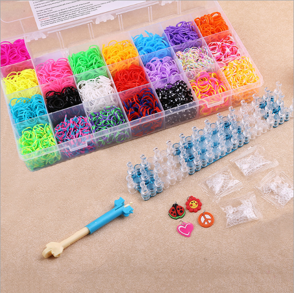 600x//1800x Loom Band Tie Dye,Glitter,Rainbow,Mix Bands DIY Bracelet Making Set