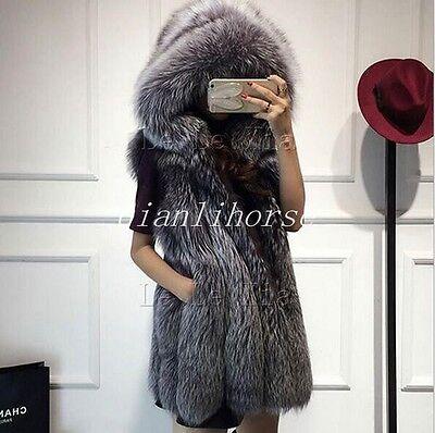 Fox Fur Vest Winter Warm Hooded Long Fit waistcoat Sleeveless Coat Women Outwear