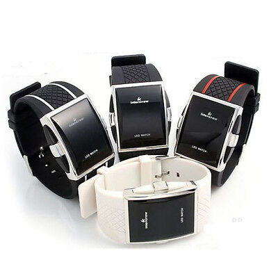 - Silicone Geneva LED Digital Touch Button Light Up Black White Hip Hop Watch