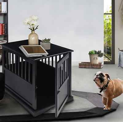 Dog Crate End Table Solid Wood Pet Kennel Indoors Versatile Stylish Black Small