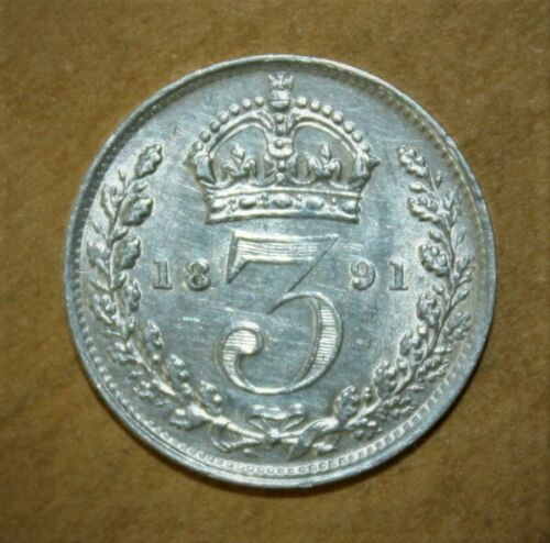 Great Britain 3 Pence 1891 Almost Uncirculated Silver Coin - Queen Victoria