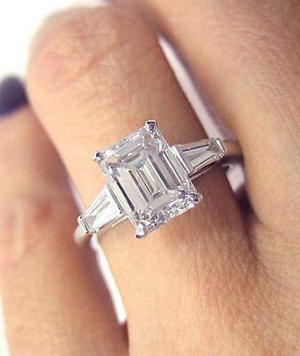 Natural 2.00 Ct Emerald & Baguette Cut 3-Diamond Engagement Ring F,VS1 GIA Plat