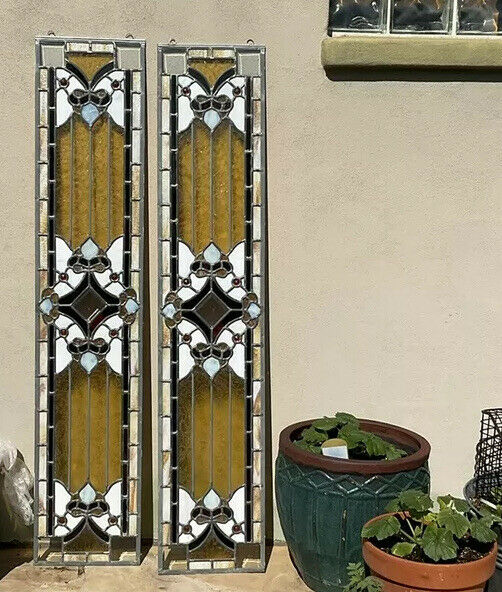 vintage pair Sidelight Glass matchs stained glass windows 60''x 12 1/4