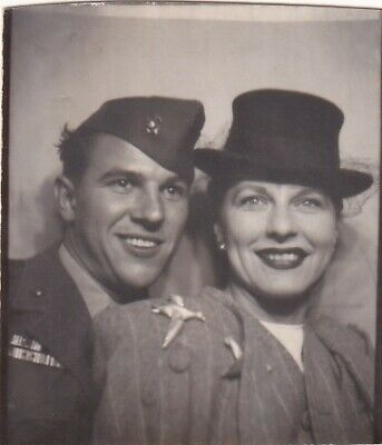VINTAGE PHOTO BOOTH - ATTRACTIVE COUPLE w/HATS,  MILITARY MAN IN ARMY CAP