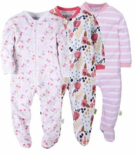 Marque Baby Girl Foot Pajama Sleeper Set Long Sleeve 12 Months 3 PACK NEW