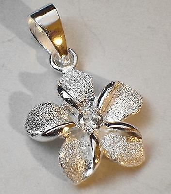 (15mm Solid Sterling Silver Hawaiian Sparkly DC Plumeria Flower Clear CZ Pendant)