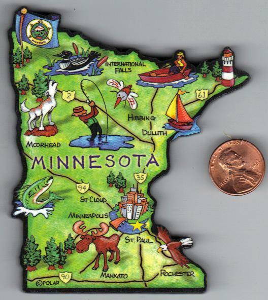 MINNESOTA   ARTWOOD STATE MAP MAGNET  ST PAUL  MINNEAPOLIS ROCHESTER ST CLOUD