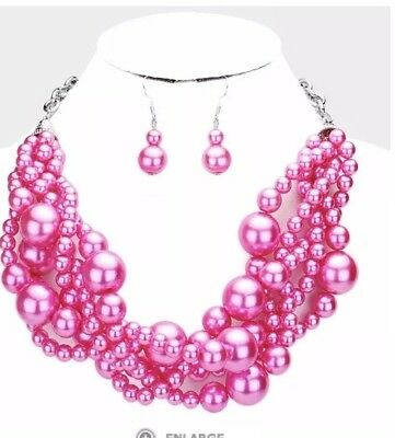 Chunky Hot Pink Fuchsia Bead Pearl Multi Layered Strand Necklace Set Jewelry - Pink Bead Necklaces