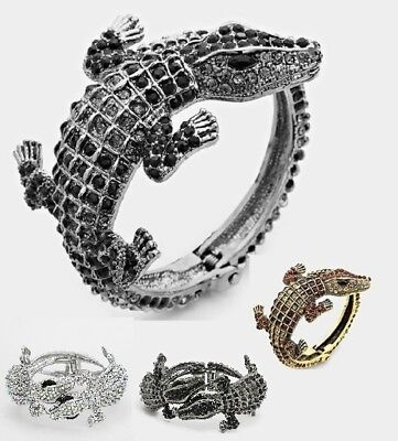 Crystal Rhinestone Evening Bangle Bracelet Wrap Alligator Crocodile Reptile