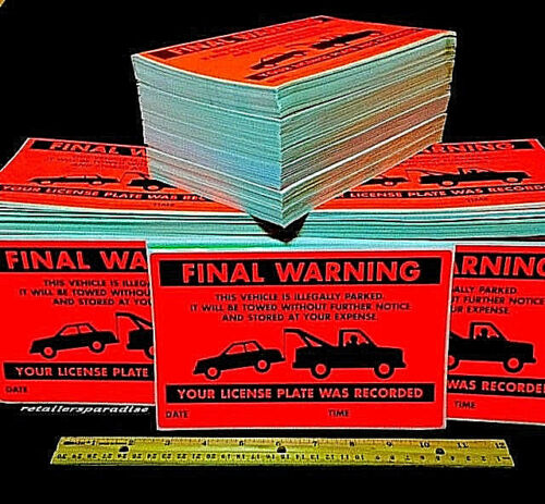 50 ((HERE THEY ARE!!)) FINAL WARN NO ILLEGAL PARKING VIOLATION SIGN CAR STICKERS