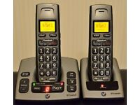 BT FREESTYLE 750 TWIN BIG BUTTON CORDLESS PHONE WITH ANSWERING MACHINE