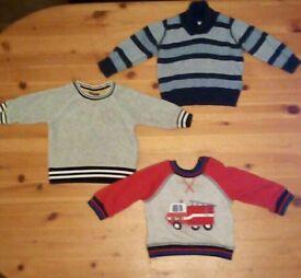 3 x 6-9 months boys jumpers bundle