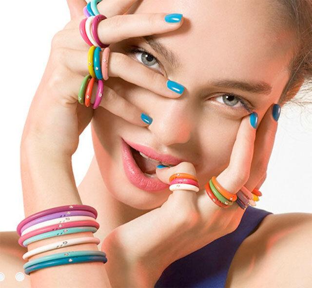 Duepunti Diamond Round Cut Stone Silver & Silicone Women's Jewelry Fashion Ring